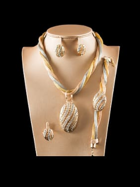 Rhinestones Oval Four Pieces Jewelry Set