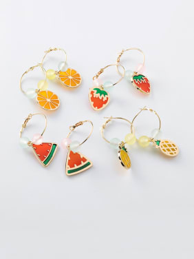Alloy With Rose Gold Plated Cute Colored Beads Ring  Friut Clip On Earrings