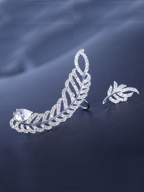 Micro-inlay zircon asymmetrical Feather Earrings