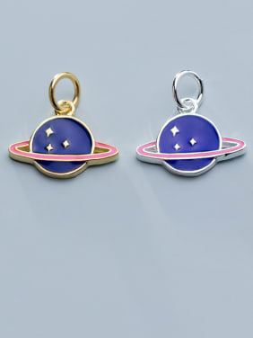 925 Sterling Silver With Enamel Personality Round  Earth Pendants
