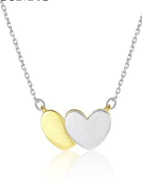 925 Sterling Silver With Two-color plating Simplistic Heart Locket Necklace