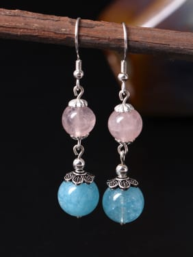 Natural Stone Silver Hook Earrings