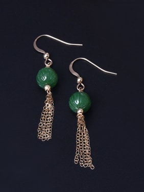 Natural Jade Tassel Hook Earrings