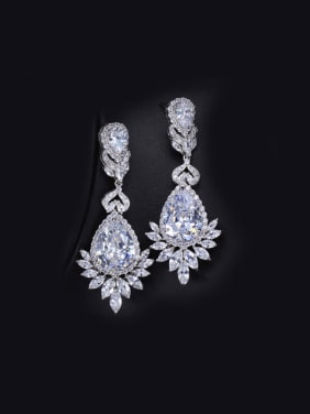 Water Drop Zircon Wedding Cluster earring