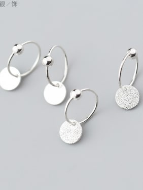 Personality disc 925 silver earrings