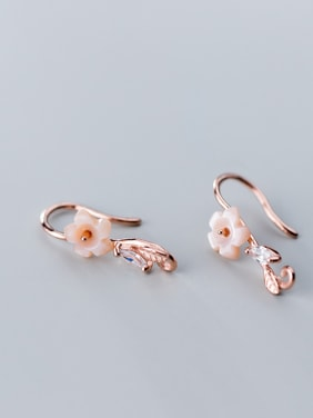 925 Sterling Silver With Resin Cute Flower Hook Earrings