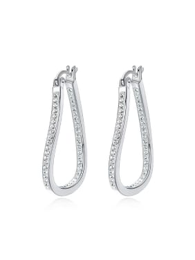Simple Cubic Tiny Swarovski Crystals 925 Silver Irregular Earrings