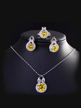 Simple Fashion Three Luxurious Zircon Jewelry Set