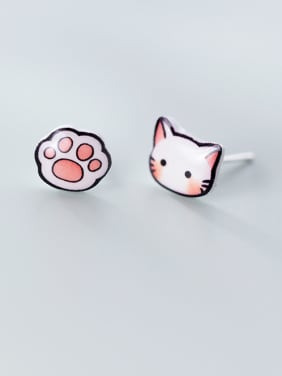 925 Sterling Silver With Platinum Plated Simplistic Cat Stud Earrings