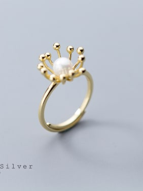 Sterling silver golden sun flower synthetic pearl ring