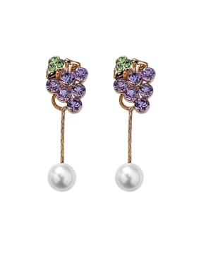 Alloy With Cubic Zirconia  Fashion Friut Grape Drop Earrings