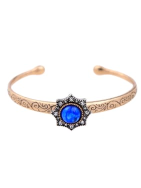 Retro Style Artificial Blue Stones Fashion Opening Bangle