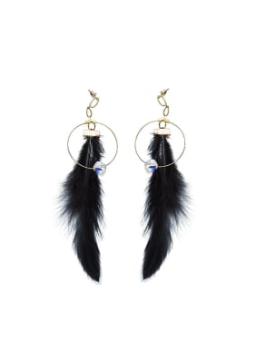 Exaggerated Personalized Black Feather Drop Earrings