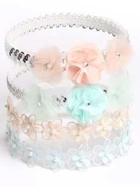 Children's hair accessories: Baby lace fresh powder green flower hair band