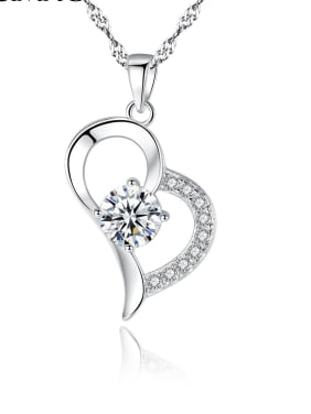 925 Sterling Silver With + Cubic Zirconia Simplistic Heart Locket Necklace