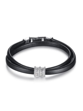 Copper inlay AAA zircon Fashion Personality Leather Cord Bracelet