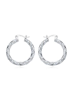 Simple Hollow Round Tiny Swarovski Crystals 925 Silver Earrings