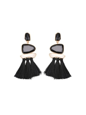 Elegant Geometric Glass Stone Tassel Drop Earrings