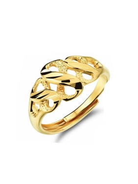 Copper With 18K Gold Plated Luxury splayed FREE SIZE Rings