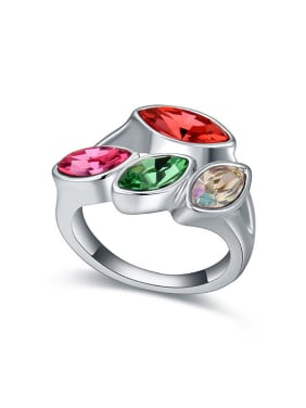 Personalized Four Marquise Swarovski Crystals Alloy Ring