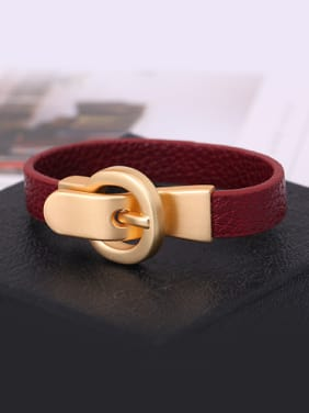 High-grade Geometric Shaped Artificial Leather Bangle