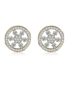 925 Sterling Silver With Cubic Zirconia  Simplistic Round Stud Earrings