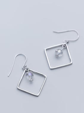 925 Sterling Silver With Silver Plated Simplistic Square&Bead Hook Earrings