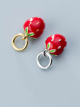 925 Sterling Silver Enamel  Cute Friut Strawberry  Charms