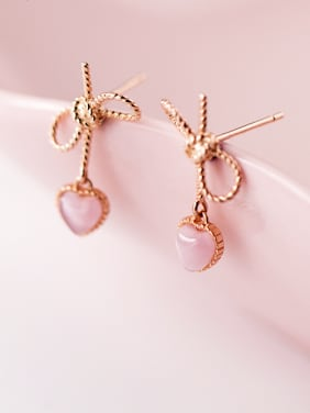 925 Sterling Silver With 18k Rose Gold Plated Cute Bowknot Stud Earrings