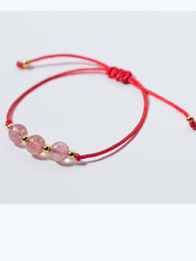 925 Sterling Silver With Silver Plated Simplistic Charm and Strawberry crystals Add-a-bead Bracelets