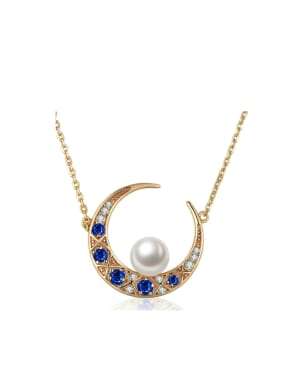 Moon -shape Spine Micro Pave Gold Plated Necklace