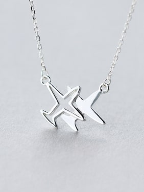 S925 silver hollow small plane necklace