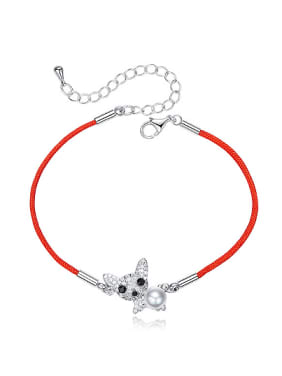 Simple Little Dog Artificial Pearl Red Rope Bracelet