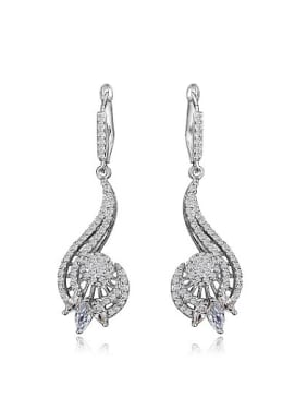 Exquisite White Gold Plated Zircon Copper Drop Earrings