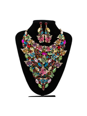 Butterflies Glass Rhinestones Two Pieces Jewelry Set