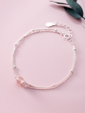 925 Sterling Silver With Platinum Plated Double layer Bracelets