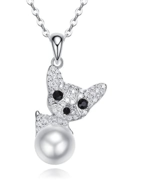 Fashion Artificial Pearl Swarovski Crystals-covered Dog 925 Silver Pendant