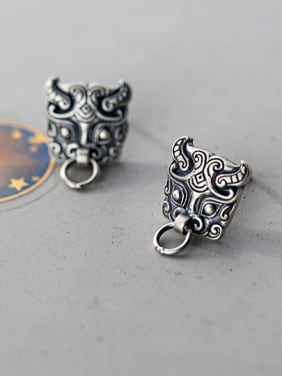 925 Sterling Silver With Antique Silver Plated  Zodiac Cattle Stud Earrings