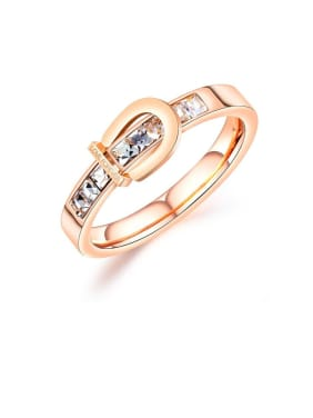 Stainless Steel With Rose Gold Plated Simplistic Geometric Band Rings