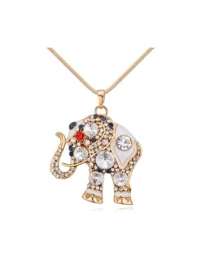 Personalized Cubic Swarovski Crystals-covered Elephant Champagne Gold Sweater Chain