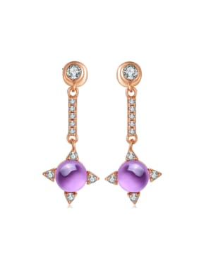 Long Drop Earrings with Sparking Amethyst Stones