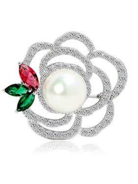 Copper inlaid AAA zircon Pearl White Rose Brooch