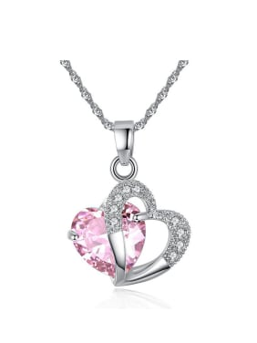 Fashion Heart Zircon Pendant Copper Necklace