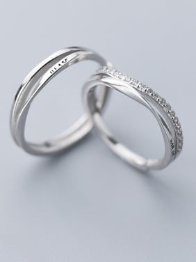 925 Sterling Silver With Platinum Plated Simplistic Irregular Free Size Engagement Rings