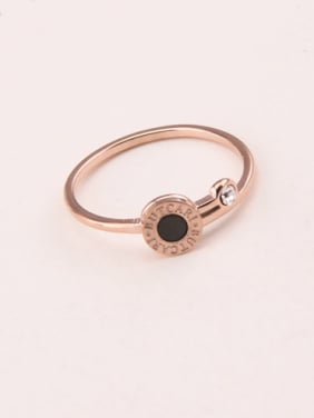 Black Agate Zircon Simple Ring