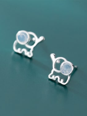 925 Sterling Silver With Platinum Plated Cute Animal Elephant Stud Earrings