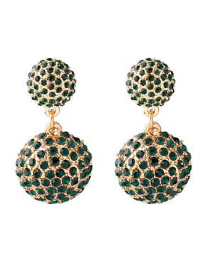 Sparking Double Balls Rhinestones Drop Earrings
