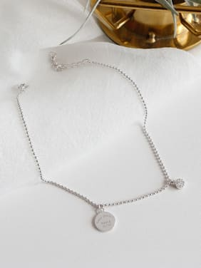 925 Sterling Silver With Platinum Plated Personality English tag Anklets