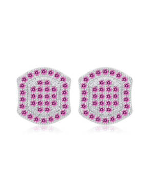 Geometric Fashion Women Silver Stud Earrings with Amethyst