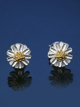 be2b71abd Elegant Little Daisy Flower Double Color 925 Sterling Silver Stud Earrings